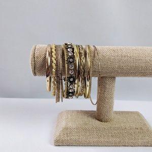 15 Gold Tone Bangle Bracelets Great Boho Stack!